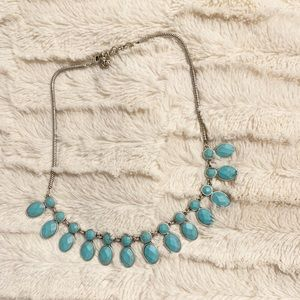 Lucky Brand Statement Necklace/Silver & Turquoise